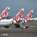 Virgin Australia planes parked at airport