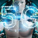 White cyborg using 5G network digital hologram 3D rendering