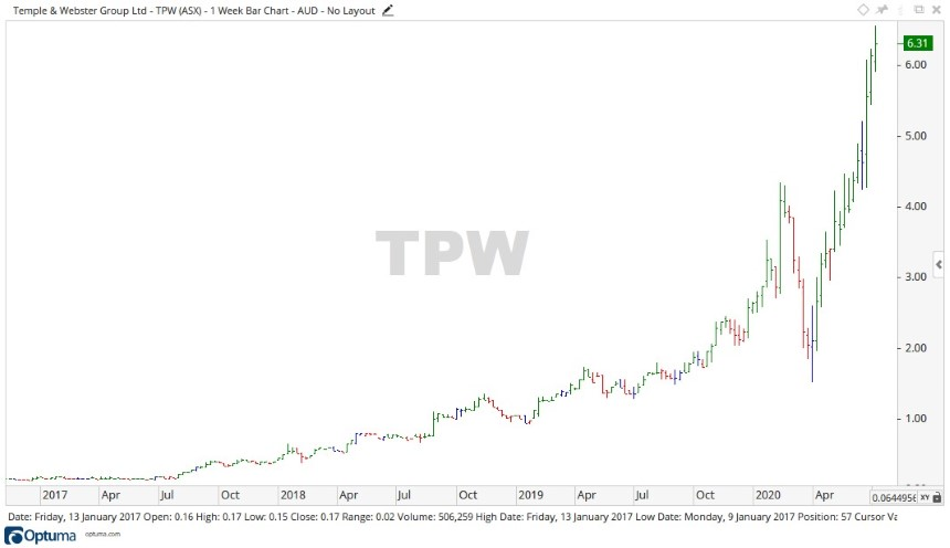 ASX TPW Share Price Chart 1 - Temple and Webster Shares